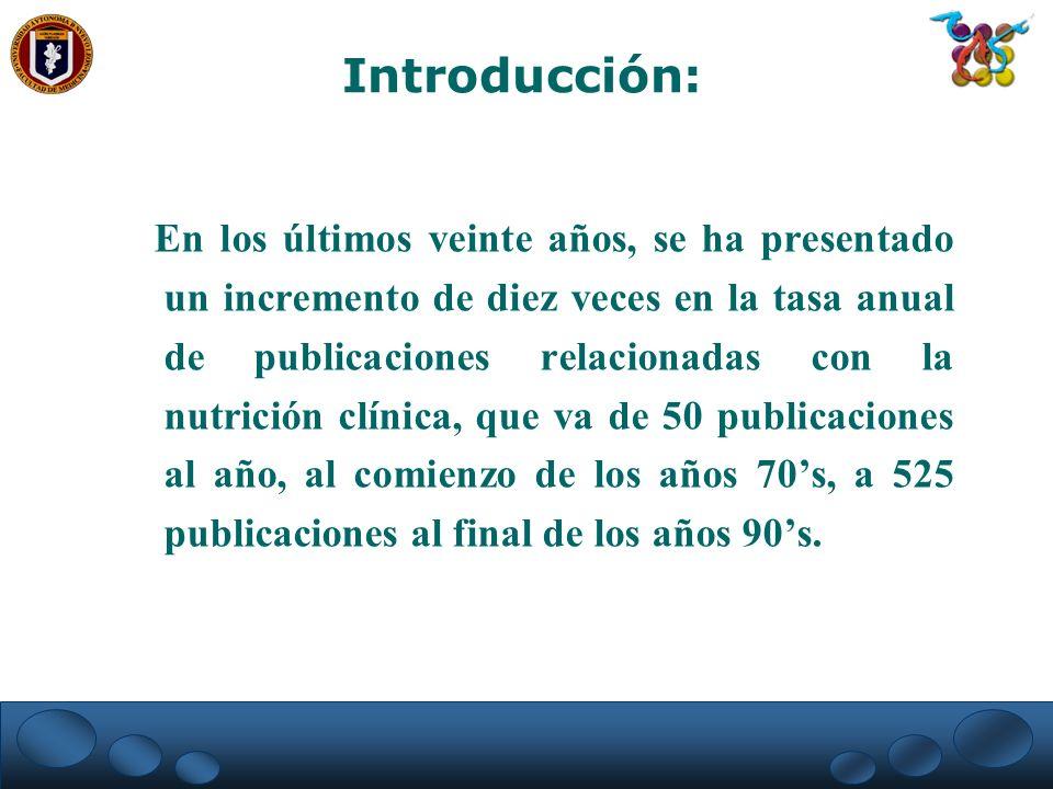 En los últimos veinte años, se ha presentado un incremento de diez veces en la tasa anual de publicaciones relacionadas con la nutrición clínica, que
