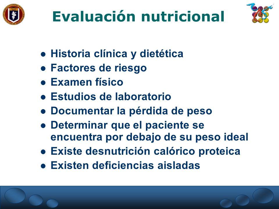 Evaluación nutricional Historia clínica y dietética Factores de riesgo Examen físico Estudios de laboratorio Documentar la pérdida de peso Determinar