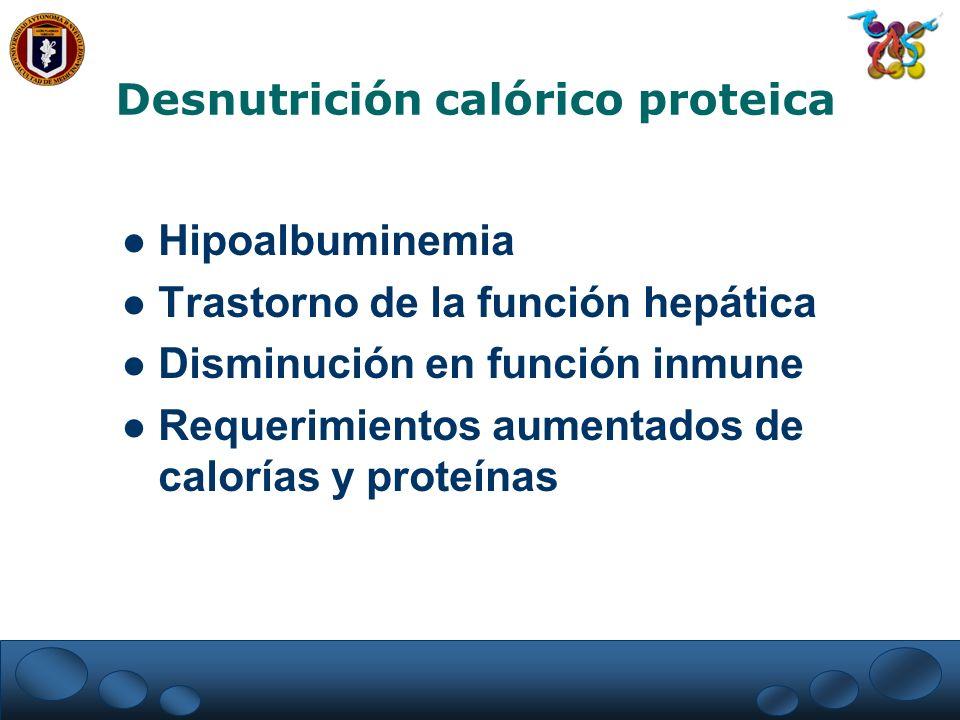 Desnutrición calórico proteica Hipoalbuminemia Trastorno de la función hepática Disminución en función inmune Requerimientos aumentados de calorías y