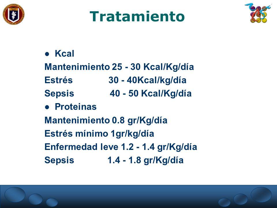 Tratamiento Kcal Mantenimiento 25 - 30 Kcal/Kg/día Estrés 30 - 40Kcal/kg/día Sepsis 40 - 50 Kcal/Kg/día Proteinas Mantenimiento 0.8 gr/Kg/día Estrés m
