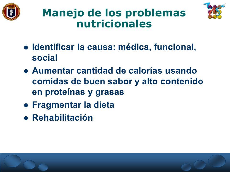 Manejo de los problemas nutricionales Identificar la causa: médica, funcional, social Aumentar cantidad de calorías usando comidas de buen sabor y alt