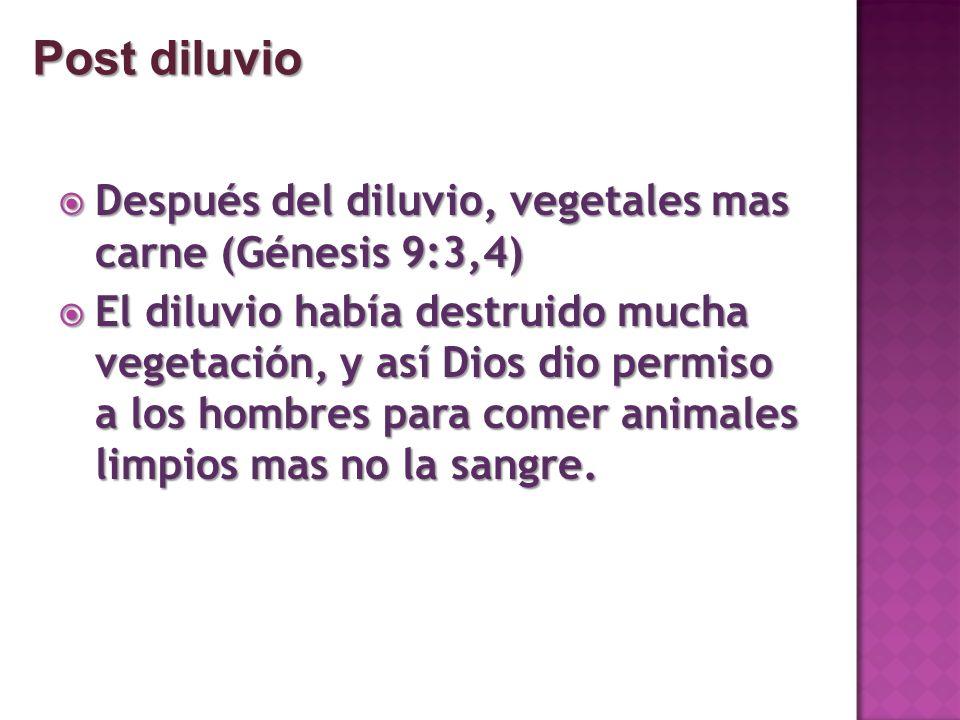 Después del diluvio, vegetales mas carne (Génesis 9:3,4) Después del diluvio, vegetales mas carne (Génesis 9:3,4) El diluvio había destruido mucha veg