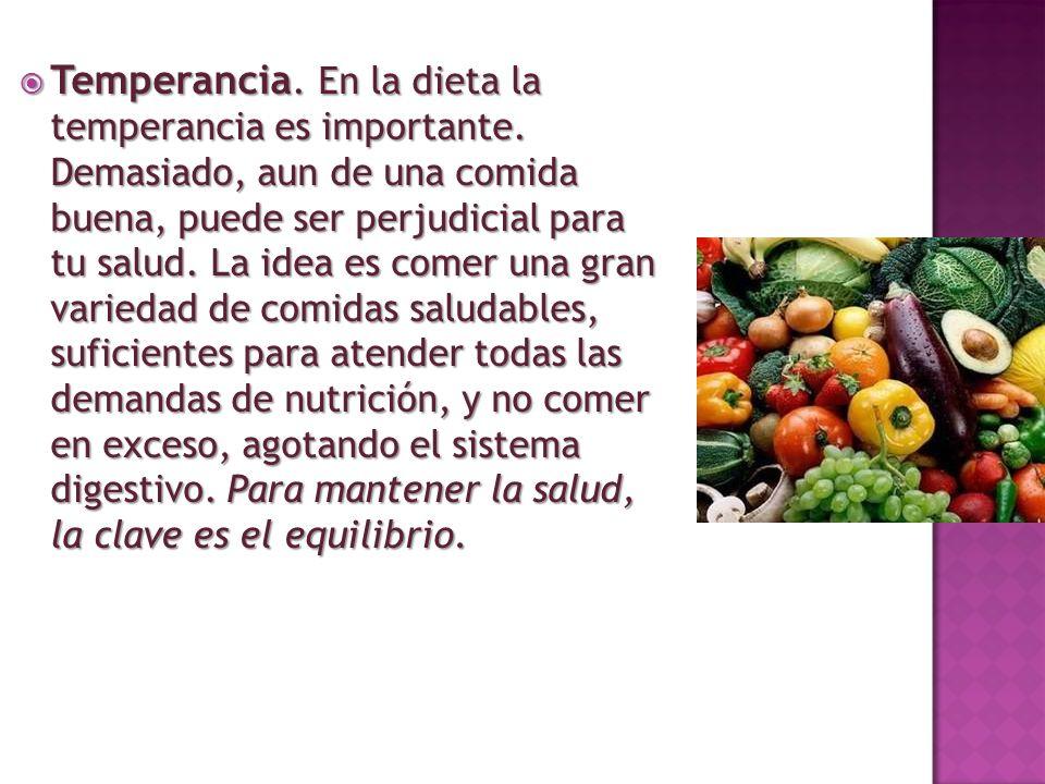 Temperancia. En la dieta la temperancia es importante. Demasiado, aun de una comida buena, puede ser perjudicial para tu salud. La idea es comer una g