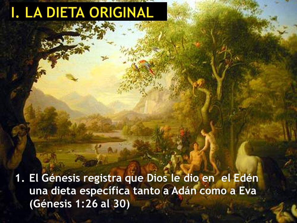1. El Génesis registra que Dios le dio en el Edén una dieta específica tanto a Adán como a Eva (Génesis 1:26 al 30)