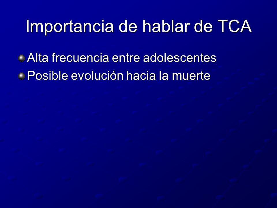 Importancia de hablar de TCA Alta frecuencia entre adolescentes Posible evolución hacia la muerte