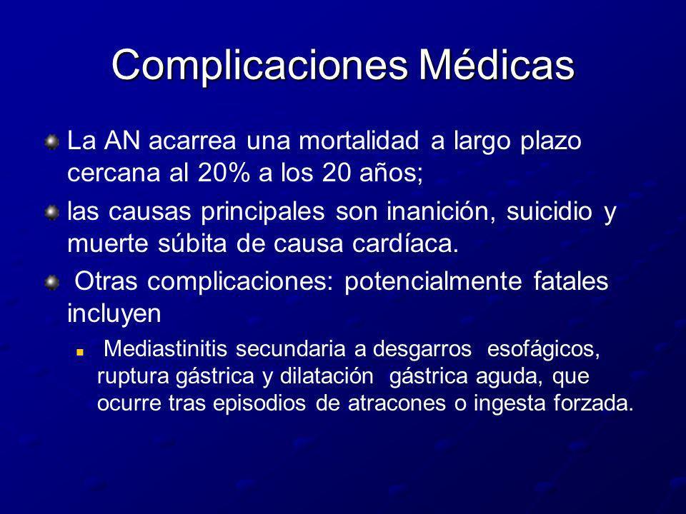 Complicaciones Médicas La AN acarrea una mortalidad a largo plazo cercana al 20% a los 20 años; las causas principales son inanición, suicidio y muert