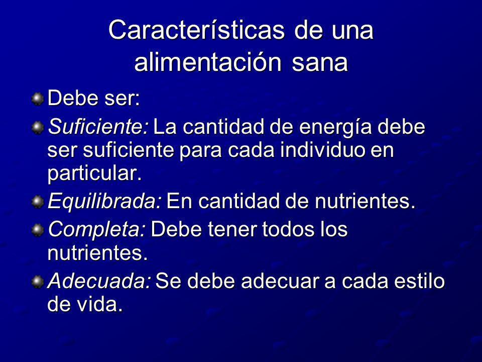 Características de una alimentación sana Debe ser: Suficiente: La cantidad de energía debe ser suficiente para cada individuo en particular. Equilibra