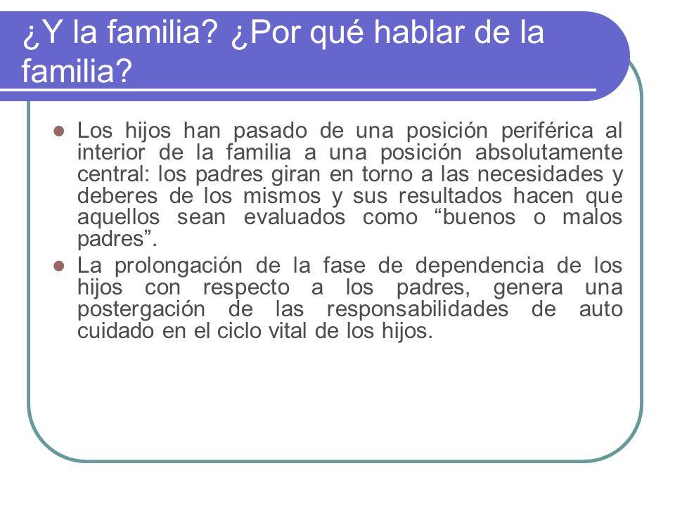 ¿Y la familia? ¿Por qué hablar de la familia? Los hijos han pasado de una posición periférica al interior de la familia a una posición absolutamente c