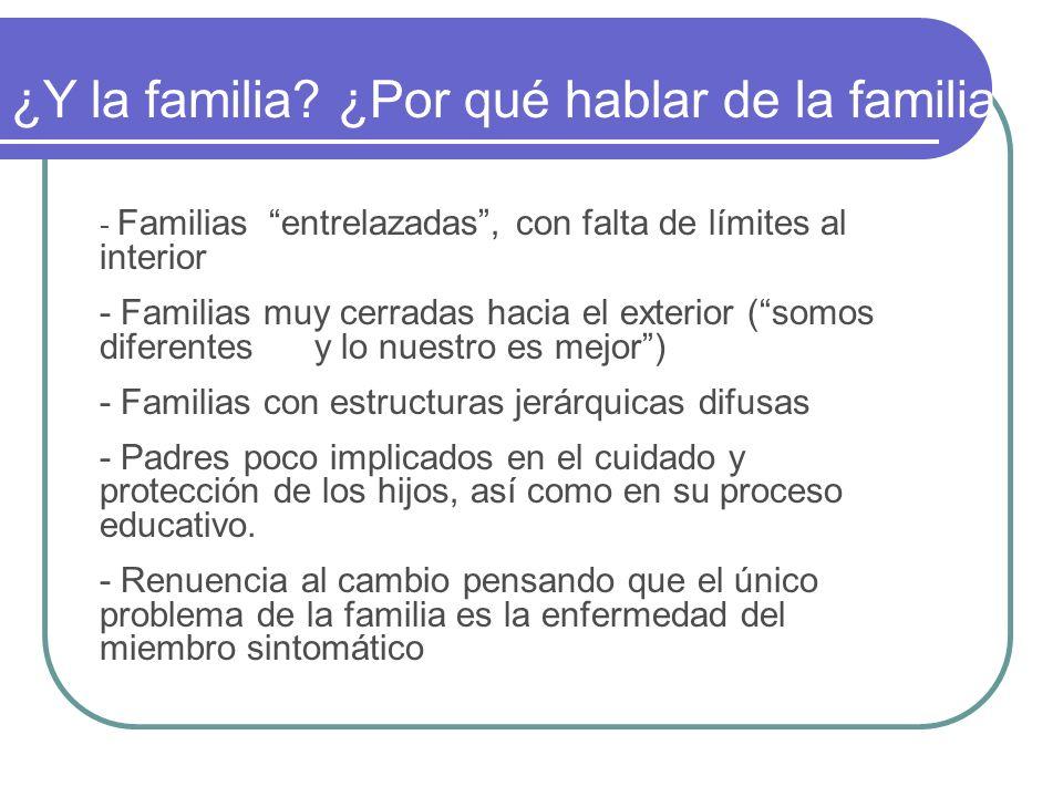 - Familias entrelazadas, con falta de límites al interior - Familias muy cerradas hacia el exterior (somos diferentes y lo nuestro es mejor) - Familia