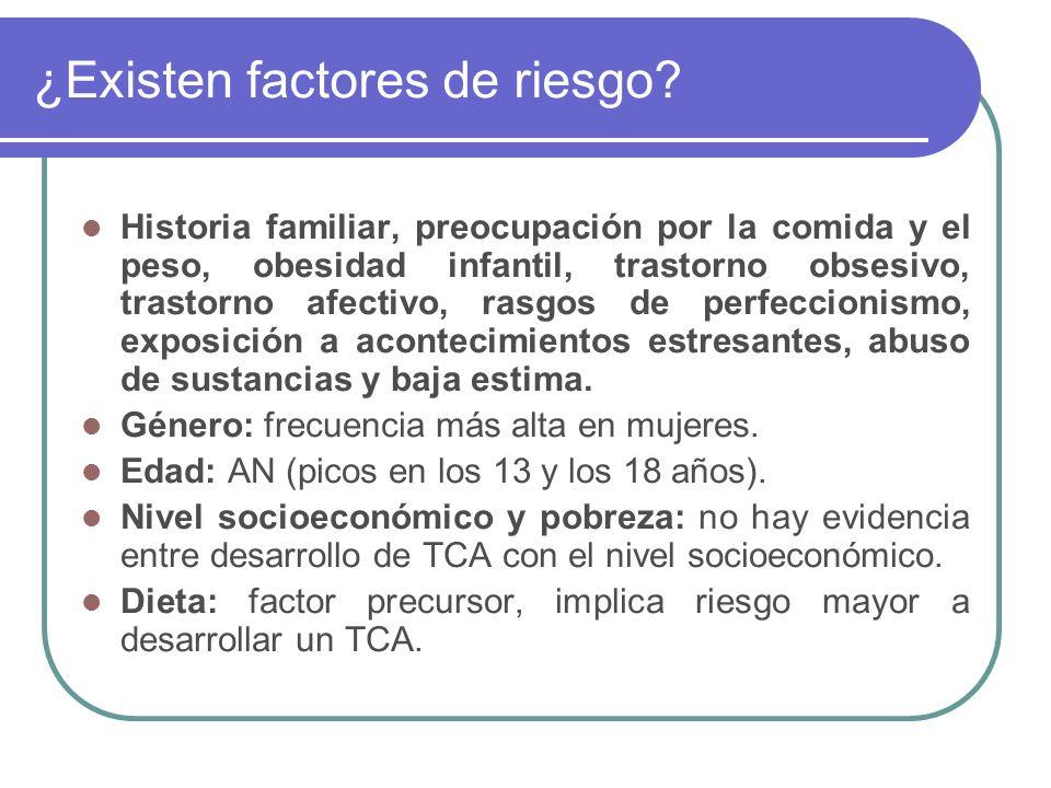 ¿Existen factores de riesgo? Historia familiar, preocupación por la comida y el peso, obesidad infantil, trastorno obsesivo, trastorno afectivo, rasgo