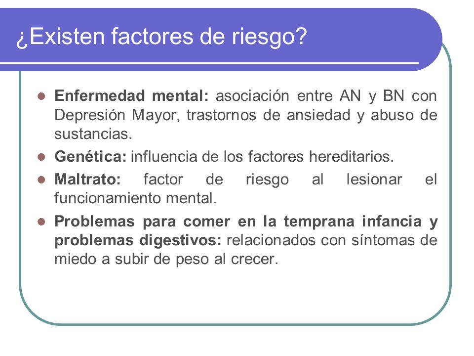¿Existen factores de riesgo? Enfermedad mental: asociación entre AN y BN con Depresión Mayor, trastornos de ansiedad y abuso de sustancias. Genética: