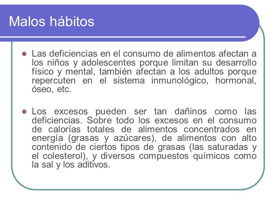 Malos hábitos Las deficiencias en el consumo de alimentos afectan a los niños y adolescentes porque limitan su desarrollo físico y mental, también afe