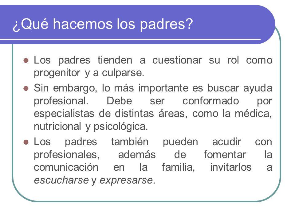 ¿Qué hacemos los padres? Los padres tienden a cuestionar su rol como progenitor y a culparse. Sin embargo, lo más importante es buscar ayuda profesion