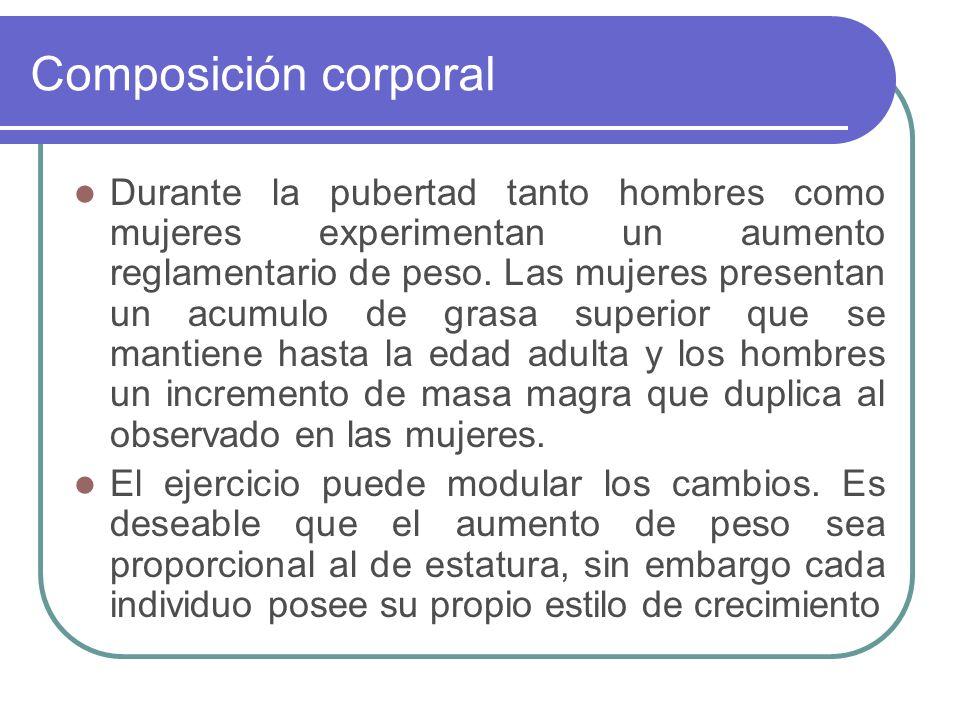 Composición corporal Durante la pubertad tanto hombres como mujeres experimentan un aumento reglamentario de peso. Las mujeres presentan un acumulo de