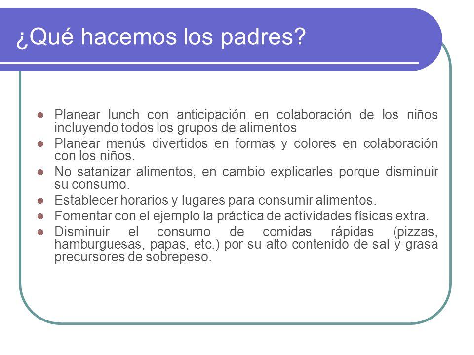 ¿Qué hacemos los padres? Planear lunch con anticipación en colaboración de los niños incluyendo todos los grupos de alimentos Planear menús divertidos