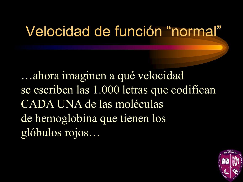 Velocidad de función normal …ahora imaginen a qué velocidad se escriben las 1.000 letras que codifican CADA UNA de las moléculas de hemoglobina que ti