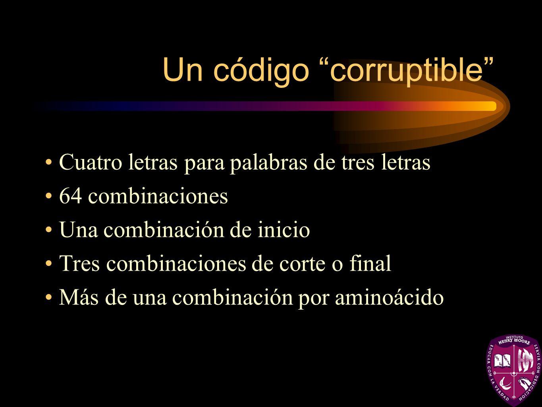 Un código corruptible Cuatro letras para palabras de tres letras 64 combinaciones Una combinación de inicio Tres combinaciones de corte o final Más de