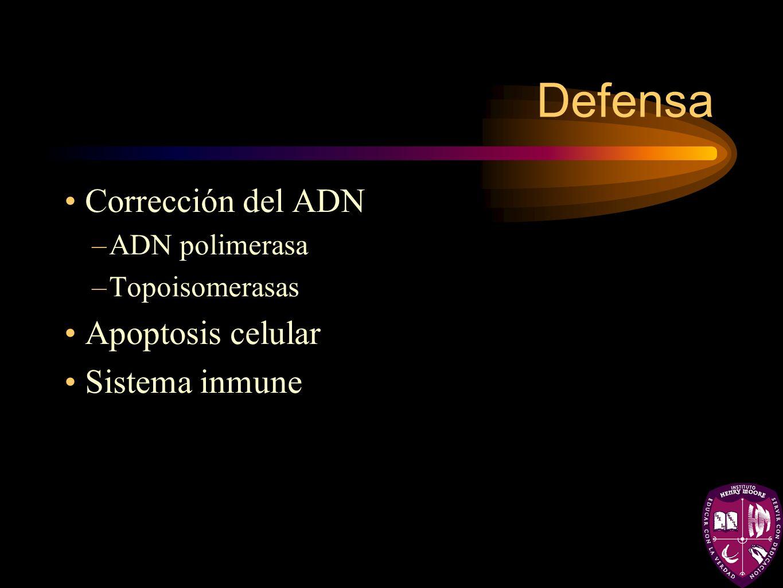 Defensa Corrección del ADN –ADN polimerasa –Topoisomerasas Apoptosis celular Sistema inmune