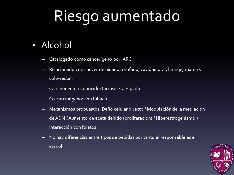 Riesgo aumentado Alcohol – Catalogado como cancerígeno por IARC. – Relacionado con cáncer de higado, esofago, cavidad oral, laringe, mama y colo-recta