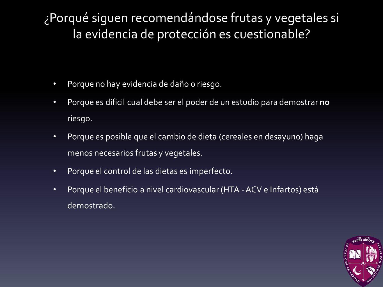 ¿Porqué siguen recomendándose frutas y vegetales si la evidencia de protección es cuestionable? Porque no hay evidencia de daño o riesgo. Porque es di