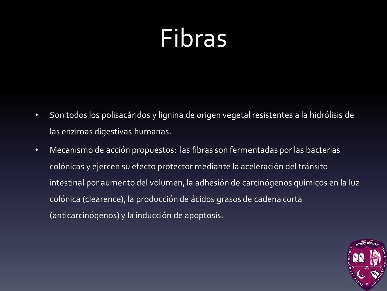 Fibras Son todos los polisacáridos y lignina de origen vegetal resistentes a la hidrólisis de las enzimas digestivas humanas. Mecanismo de acción prop
