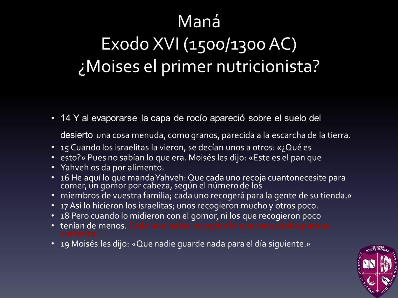 Maná Exodo XVI (1500/1300 AC) ¿Moises el primer nutricionista? 14 Y al evaporarse la capa de rocío apareció sobre el suelo del desierto una cosa menud