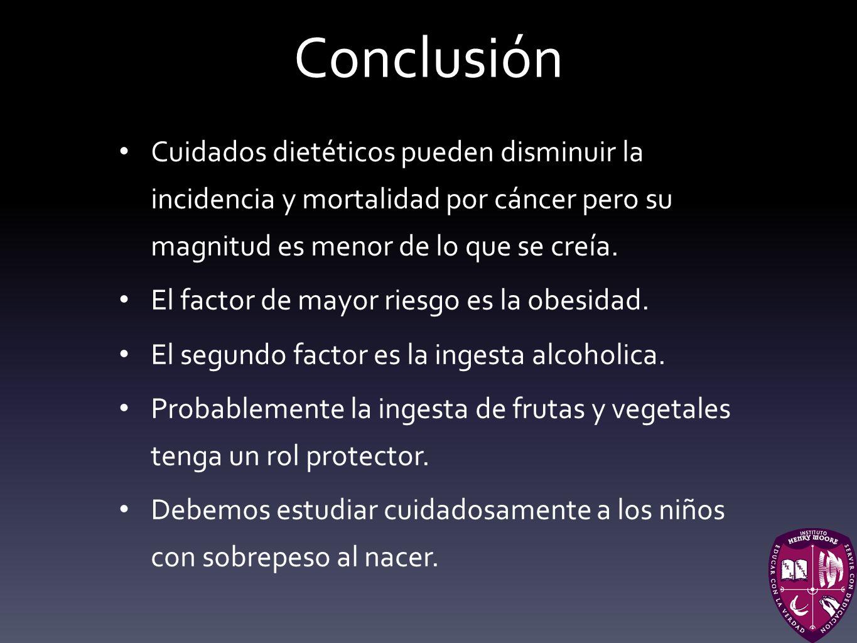 Conclusión Cuidados dietéticos pueden disminuir la incidencia y mortalidad por cáncer pero su magnitud es menor de lo que se creía. El factor de mayor