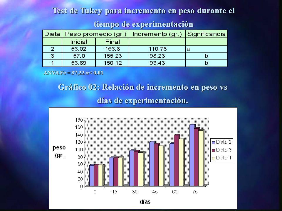 Test de Tukey para incremento en talla durante el tiempo de experimentación ANVA Fc = 78,1 < 0,01 Gráfico 01: Relación de incremento en talla vs días