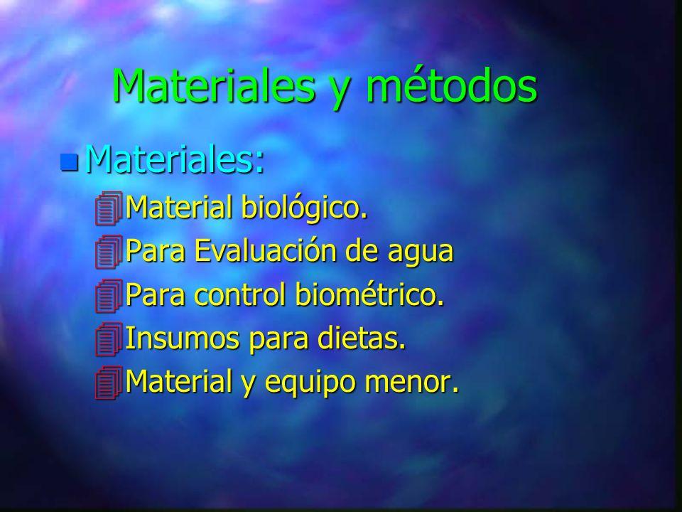 Materiales y métodos n Materiales: 4 Material biológico.