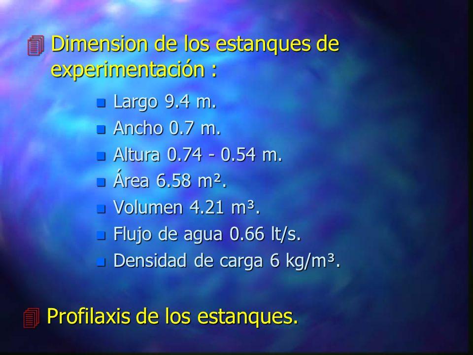 4Dimension de los estanques de experimentación : n Largo 9.4 m.