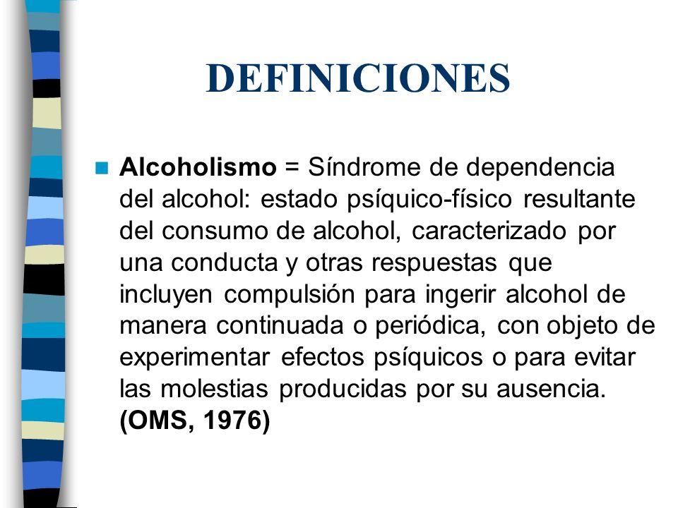 DEFINICIONES Alcoholismo = Síndrome de dependencia del alcohol: estado psíquico-físico resultante del consumo de alcohol, caracterizado por una conduc