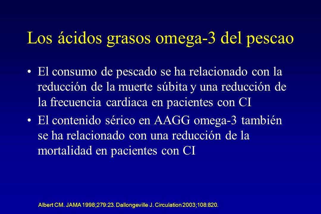 Los ácidos grasos omega-3 del pescao El consumo de pescado se ha relacionado con la reducción de la muerte súbita y una reducción de la frecuencia cardiaca en pacientes con CI El contenido sérico en AAGG omega-3 también se ha relacionado con una reducción de la mortalidad en pacientes con CI Albert CM.
