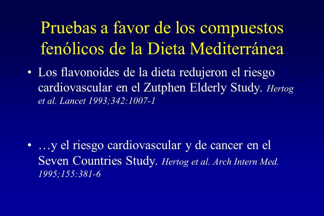 Pruebas a favor de los compuestos fenólicos de la Dieta Mediterránea Los flavonoides de la dieta redujeron el riesgo cardiovascular en el Zutphen Elderly Study.