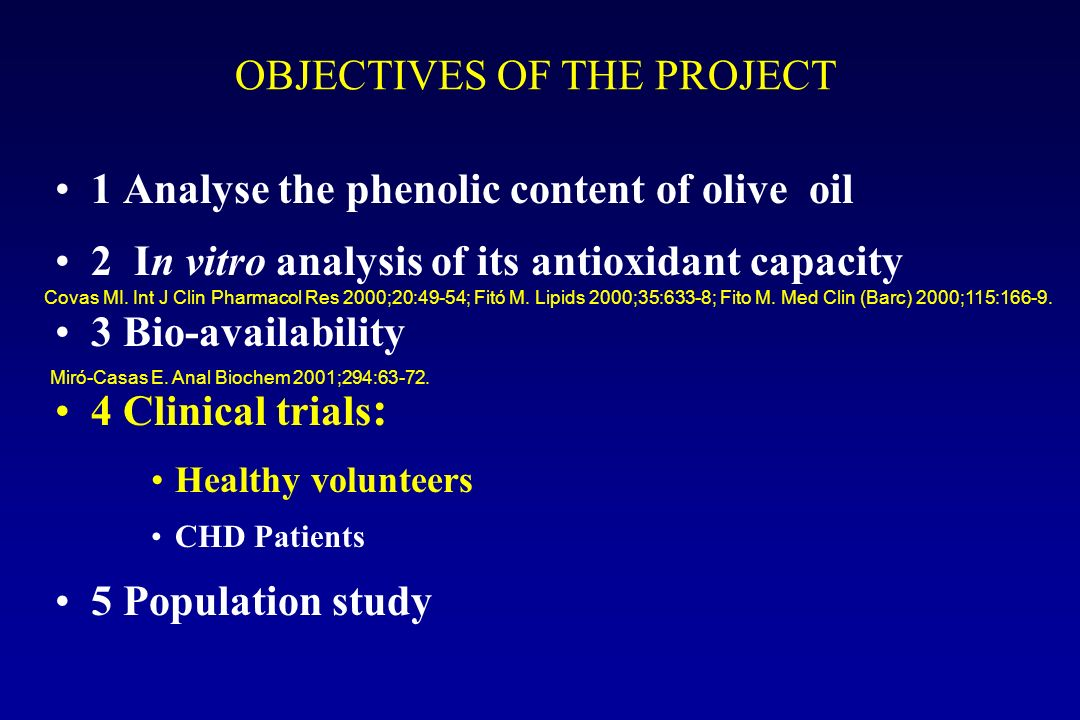 1 Analyse the phenolic content of olive oil 2 In vitro analysis of its antioxidant capacity 3 Bio-availability 4 Clinical trials : Healthy volunteers CHD Patients 5 Population study OBJECTIVES OF THE PROJECT Covas MI.