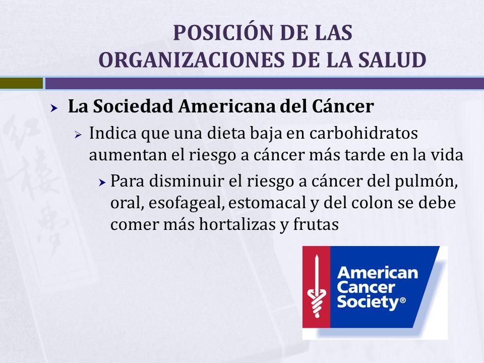 POSICIÓN DE LAS ORGANIZACIONES DE LA SALUD La Sociedad Americana del Cáncer Indica que una dieta baja en carbohidratos aumentan el riesgo a cáncer más
