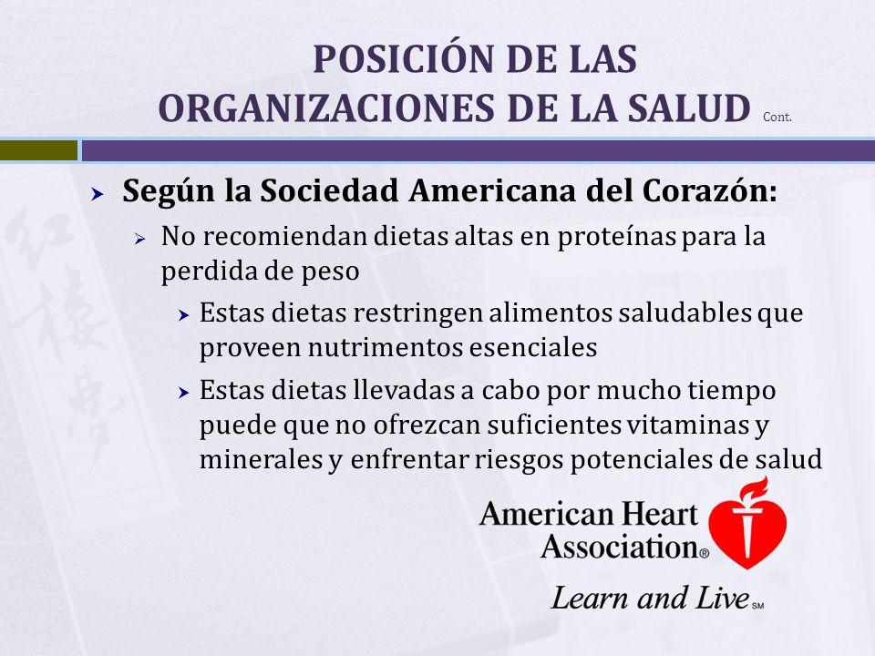 POSICIÓN DE LAS ORGANIZACIONES DE LA SALUD Cont. Según la Sociedad Americana del Corazón: No recomiendan dietas altas en proteínas para la perdida de