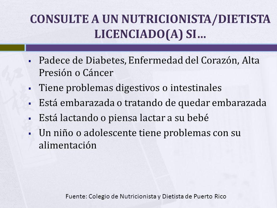 CONSULTE A UN NUTRICIONISTA/DIETISTA LICENCIADO(A) SI… Padece de Diabetes, Enfermedad del Corazón, Alta Presión o Cáncer Tiene problemas digestivos o