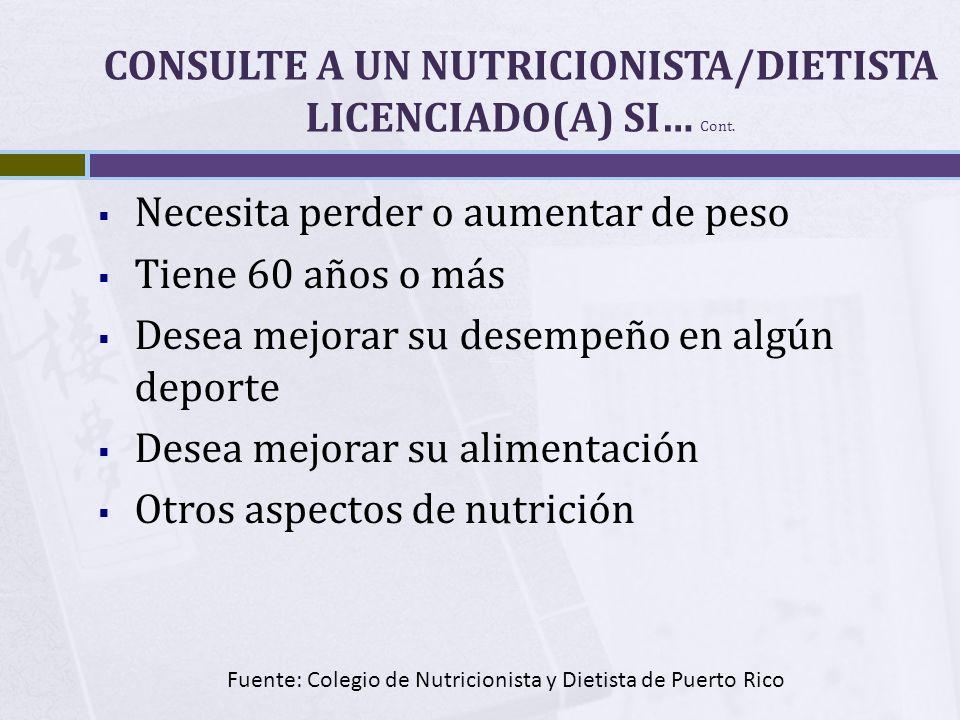 CONSULTE A UN NUTRICIONISTA/DIETISTA LICENCIADO(A) SI… Cont. Necesita perder o aumentar de peso Tiene 60 años o más Desea mejorar su desempeño en algú