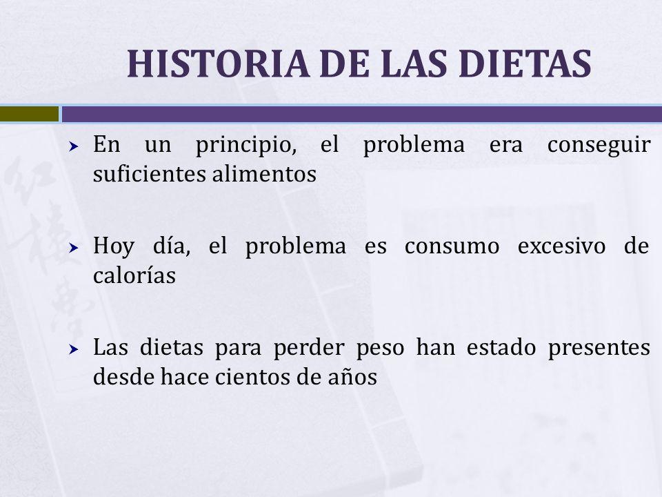 HISTORIA DE LAS DIETAS En un principio, el problema era conseguir suficientes alimentos Hoy día, el problema es consumo excesivo de calorías Las dieta