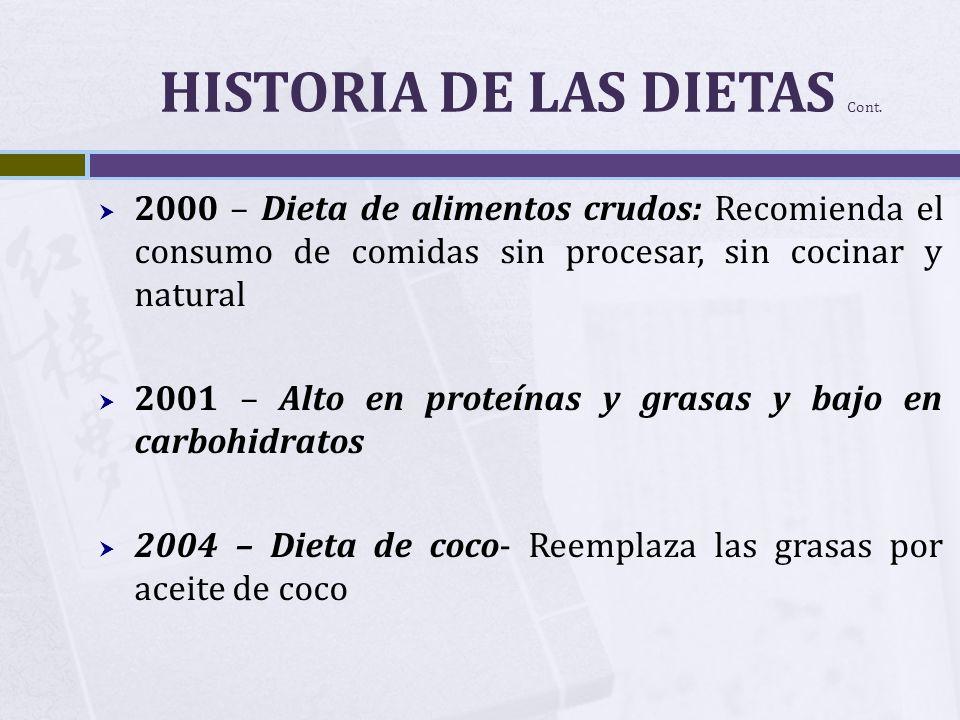 HISTORIA DE LAS DIETAS Cont. 2000 – Dieta de alimentos crudos: Recomienda el consumo de comidas sin procesar, sin cocinar y natural 2001 – Alto en pro
