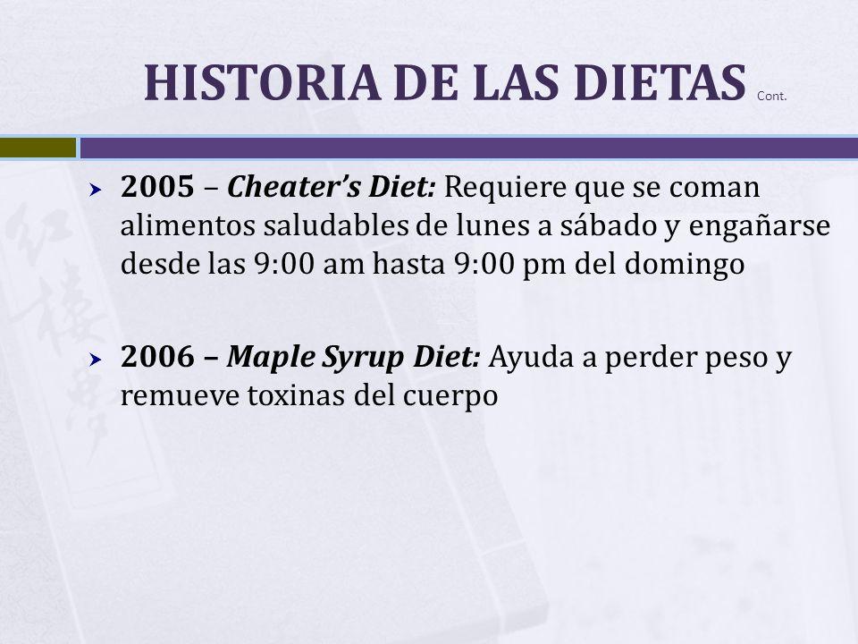 HISTORIA DE LAS DIETAS Cont. 2005 – Cheaters Diet: Requiere que se coman alimentos saludables de lunes a sábado y engañarse desde las 9:00 am hasta 9: