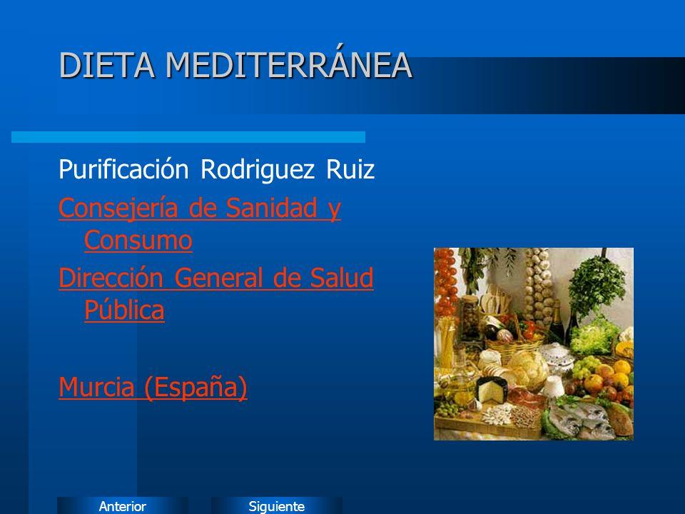 SiguienteAnterior DIETA MEDITERRÁNEA Purificación Rodriguez Ruiz Consejería de Sanidad y Consumo Dirección General de Salud Pública Murcia (España)