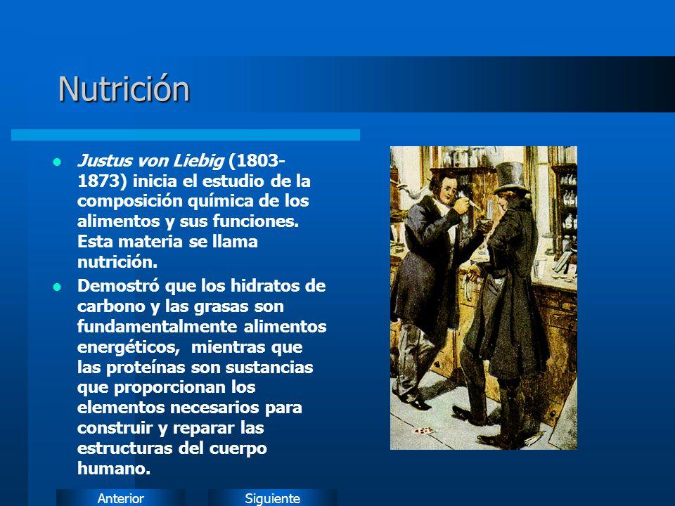 SiguienteAnteriorNutrición Justus von Liebig (1803- 1873) inicia el estudio de la composición química de los alimentos y sus funciones.