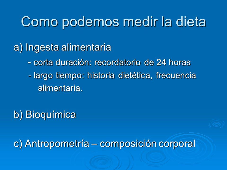 Como podemos medir la dieta a) Ingesta alimentaria - corta duración: recordatorio de 24 horas - corta duración: recordatorio de 24 horas - largo tiemp