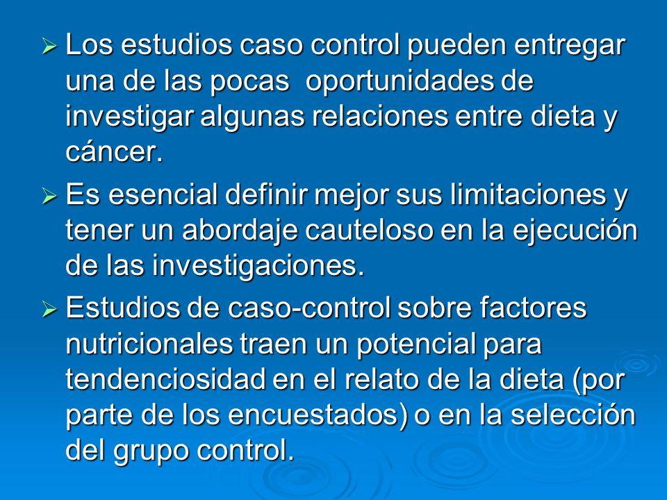 Los estudios caso control pueden entregar una de las pocas oportunidades de investigar algunas relaciones entre dieta y cáncer. Los estudios caso cont