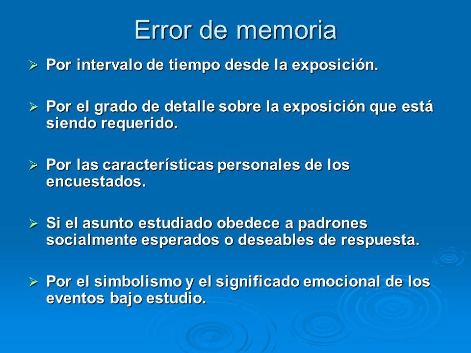 Error de memoria Por intervalo de tiempo desde la exposición. Por intervalo de tiempo desde la exposición. Por el grado de detalle sobre la exposición