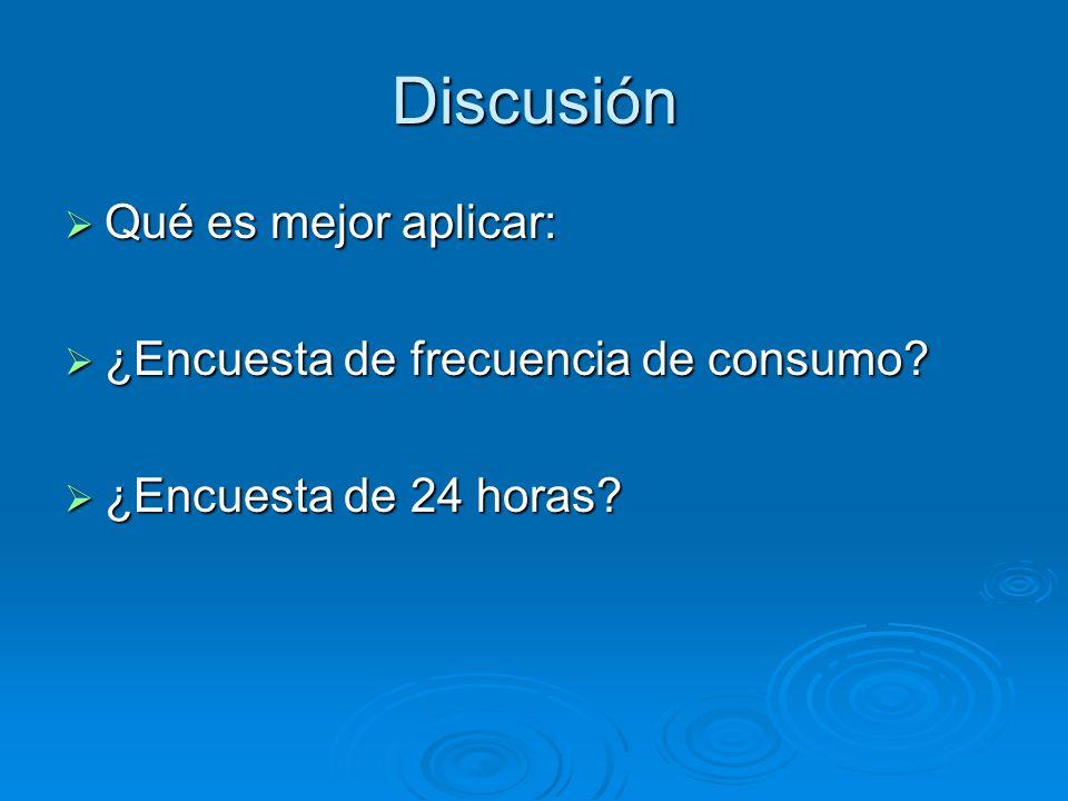 Discusión Qué es mejor aplicar: Qué es mejor aplicar: ¿Encuesta de frecuencia de consumo? ¿Encuesta de frecuencia de consumo? ¿Encuesta de 24 horas? ¿