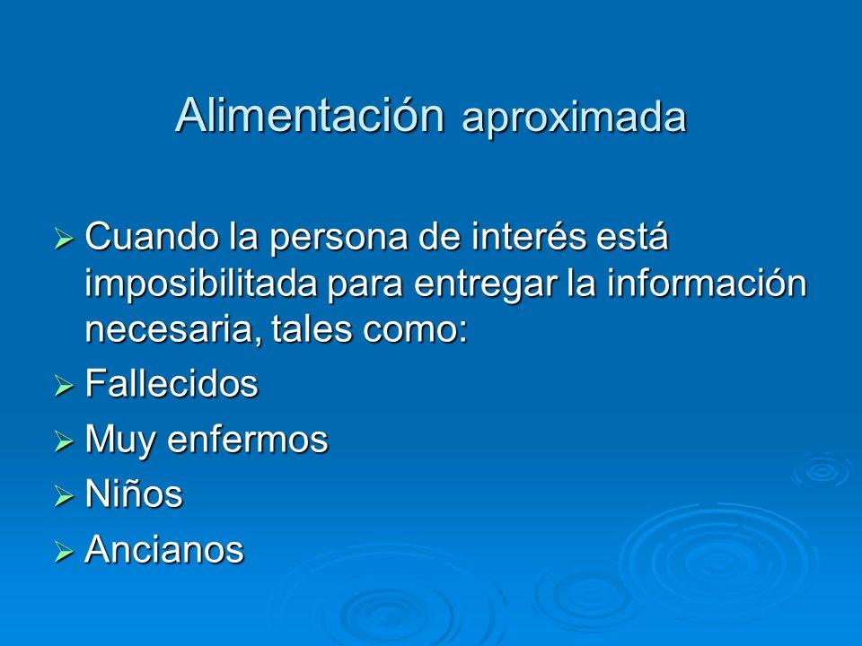 Alimentación aproximada Cuando la persona de interés está imposibilitada para entregar la información necesaria, tales como: Cuando la persona de inte