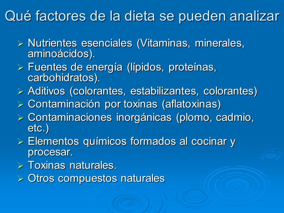 Qué factores de la dieta se pueden analizar Nutrientes esenciales (Vitaminas, minerales, aminoácidos). Nutrientes esenciales (Vitaminas, minerales, am
