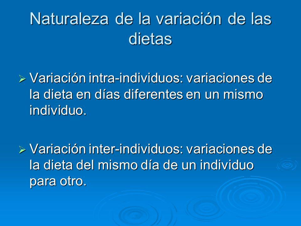 Naturaleza de la variación de las dietas Variación intra-individuos: variaciones de la dieta en días diferentes en un mismo individuo. Variación intra